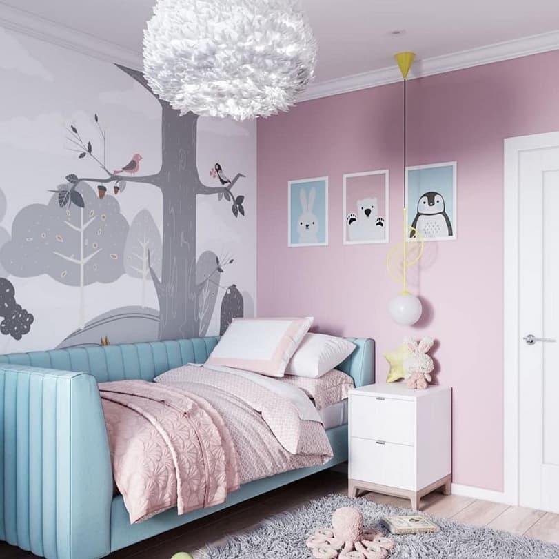 Вариант дизайнерского интерьера для девочки в розовом цвете 8