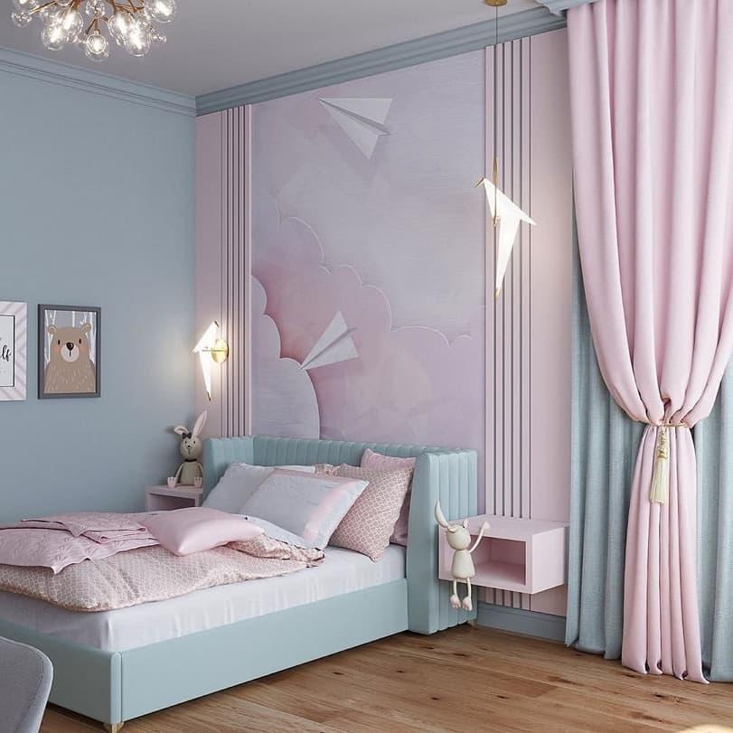 Вариант дизайнерского интерьера для девочки в розовом цвете 9