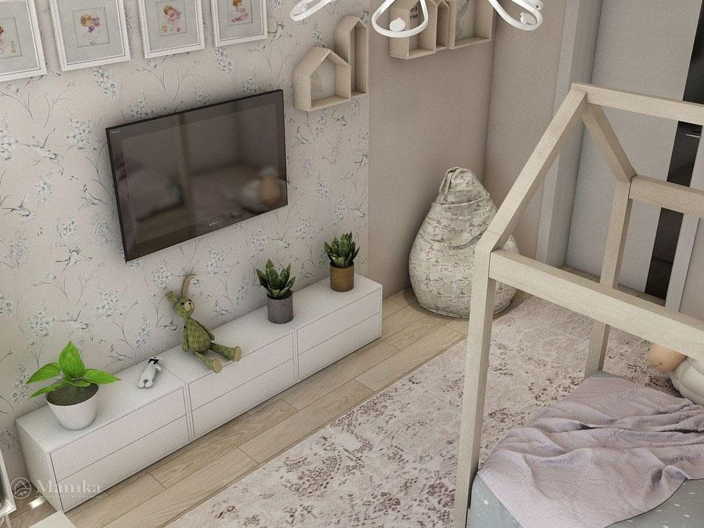 Воздушный дизайн детской спальни в пастельных тонах 1