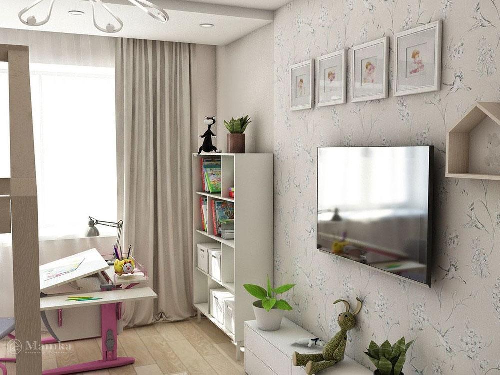 Воздушный дизайн детской спальни в пастельных тонах фото 3