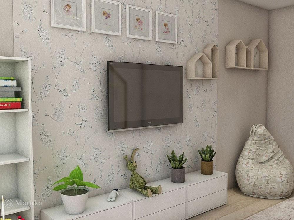 Воздушный дизайн детской спальни в пастельных тонах 4
