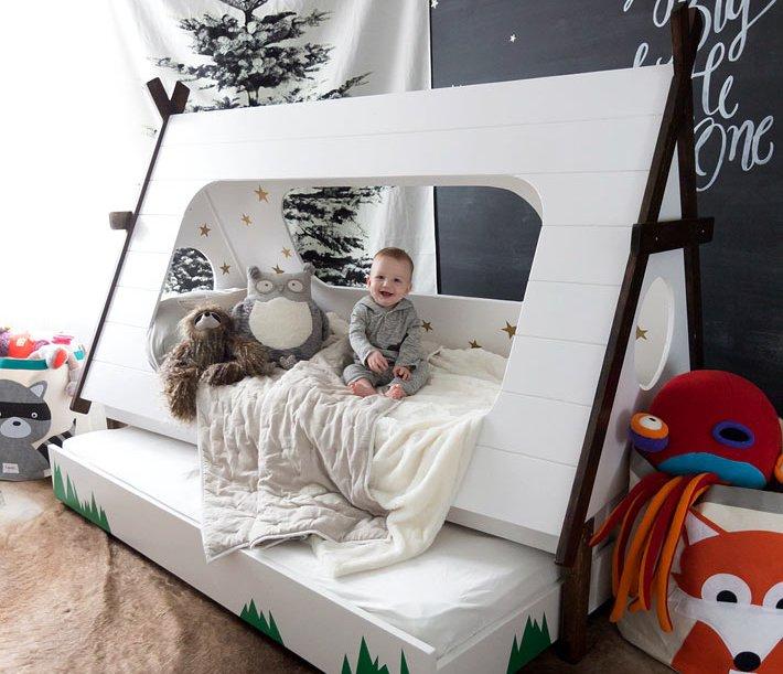 Кровать домик для ребёнка: модель в виде вигвама