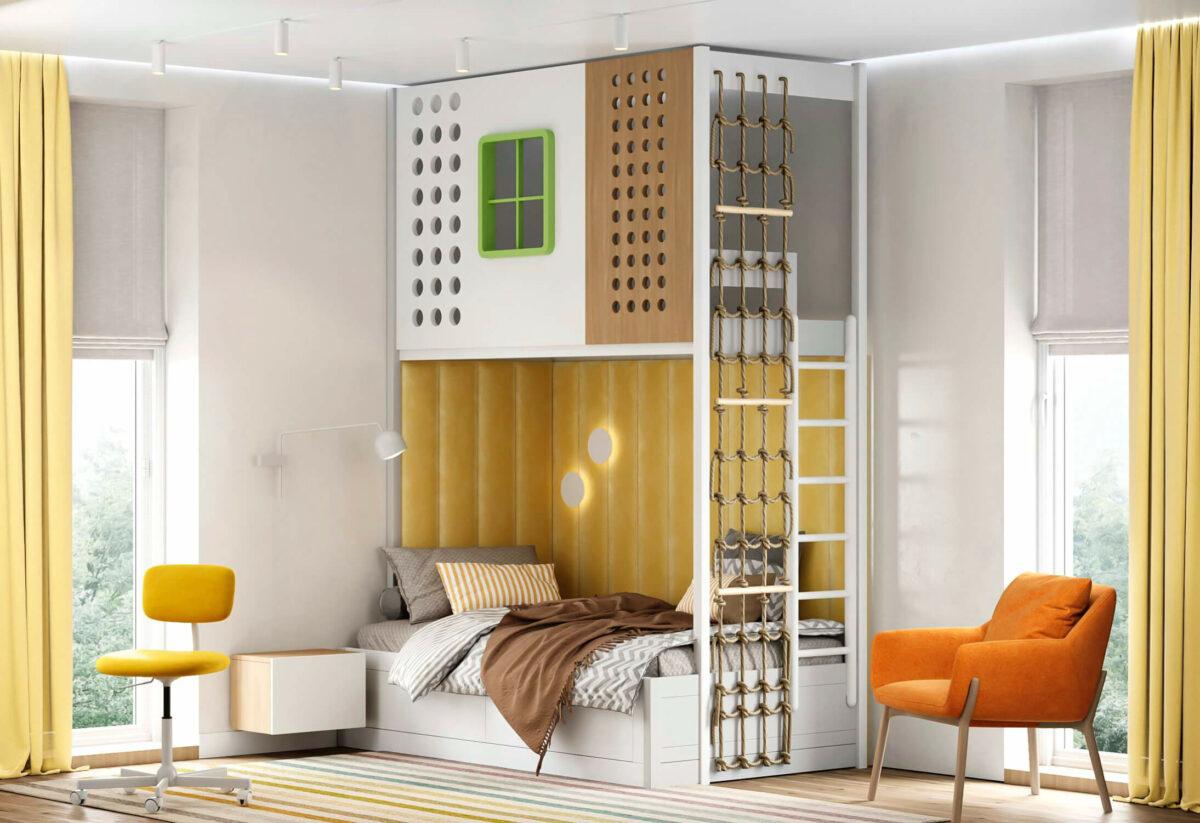 Яркая мебель в детскую комнату мальчика-школьника проект 5595-1