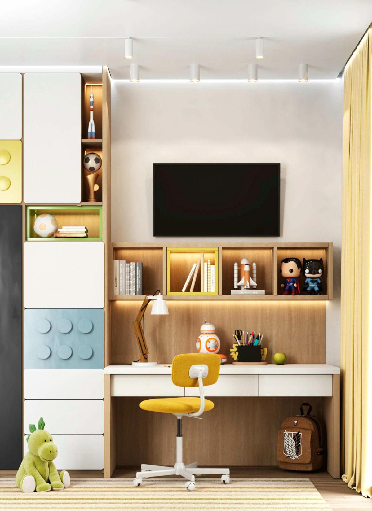 Яркая мебель в детскую комнату мальчика-школьника проект 5595-2