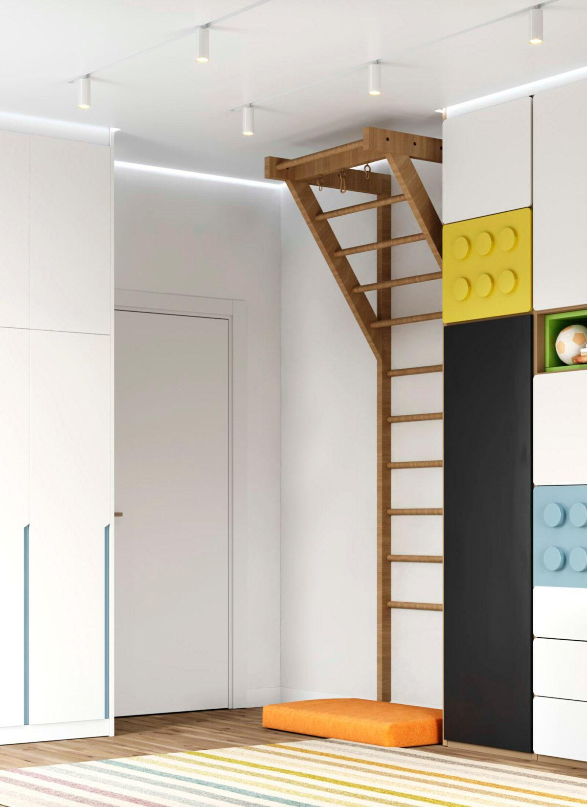 Яркая мебель в детскую комнату мальчика-школьника проект 5595-3