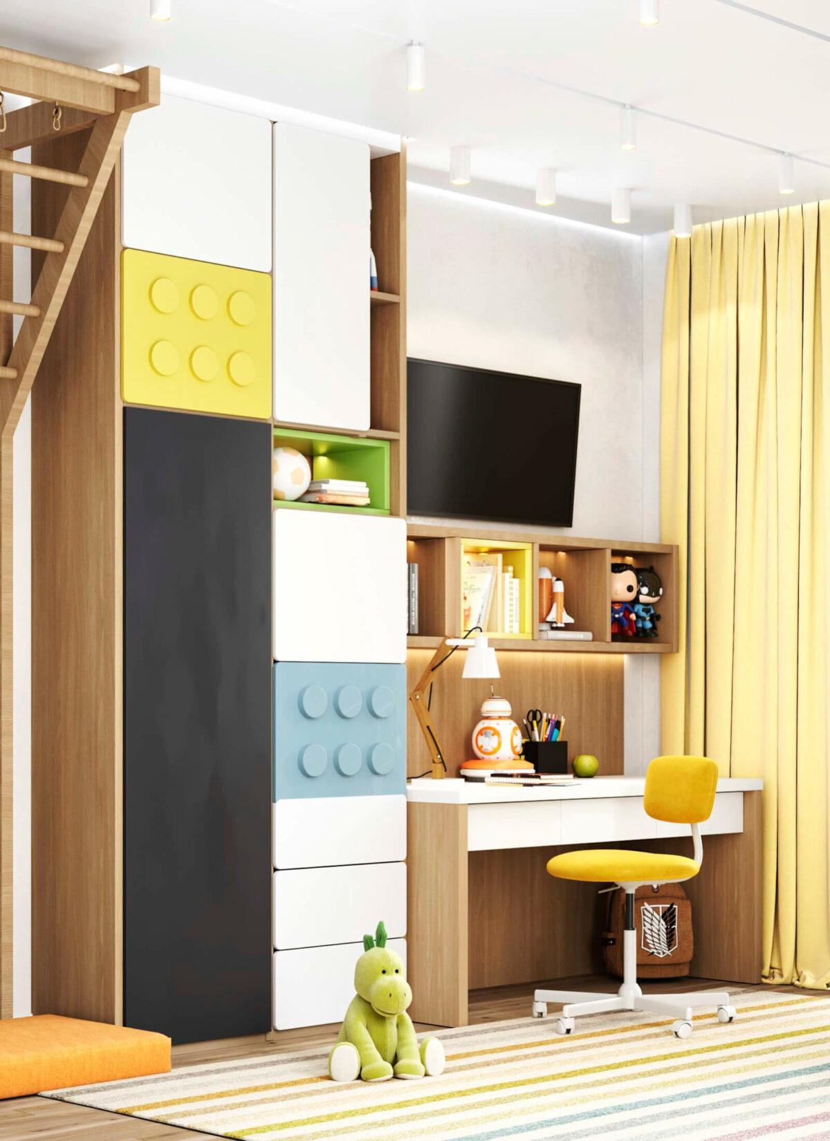 Яркая мебель в детскую комнату мальчика-школьника проект 5595-5