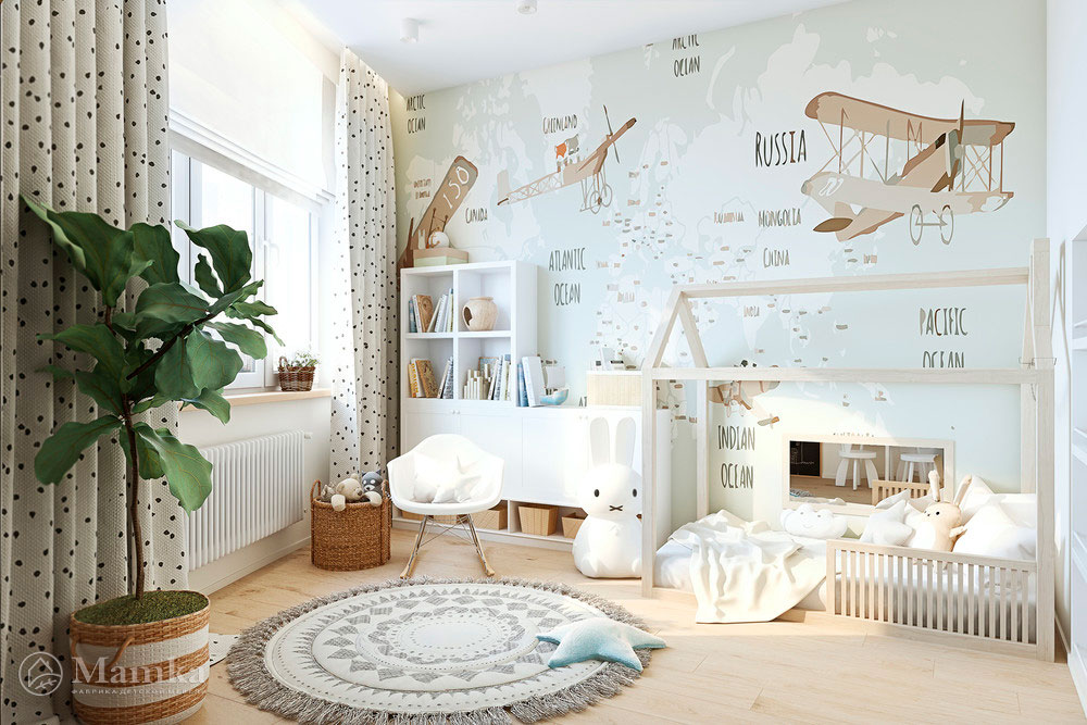 Удобные и очень яркие зоны в детской комнате 1