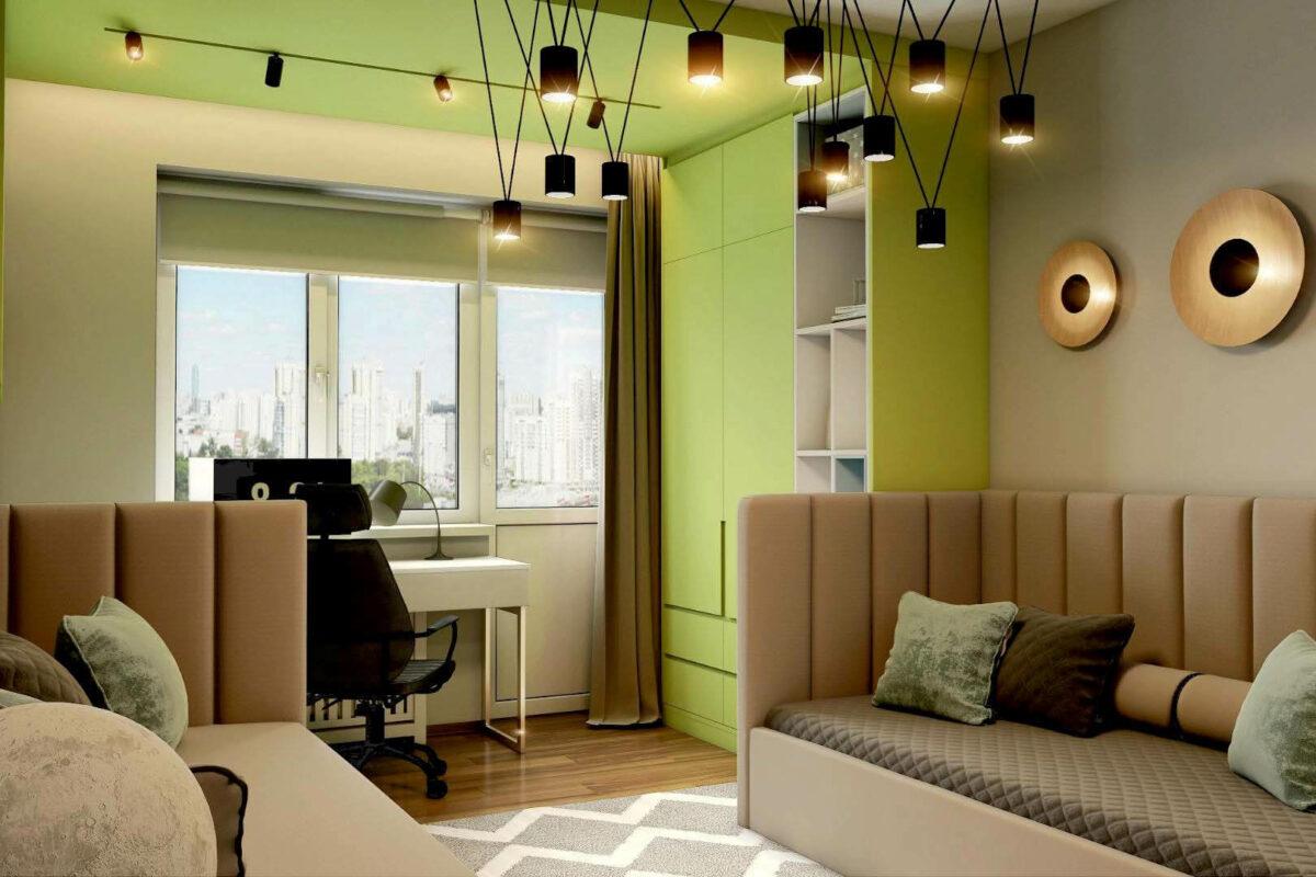 Зеленая мебель в комнату мальчика проект 3913-2