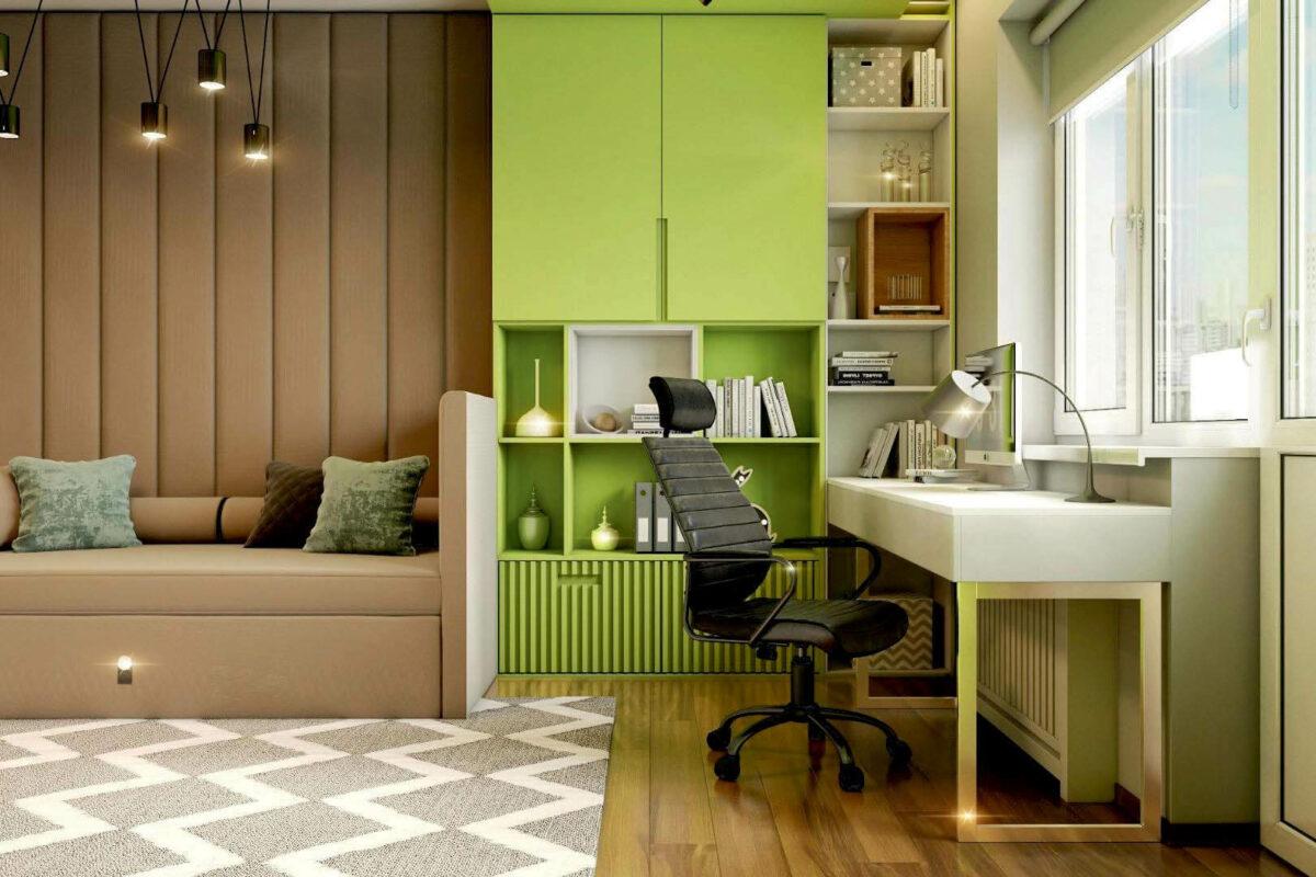 Зеленая мебель в комнату мальчика проект 3913-3