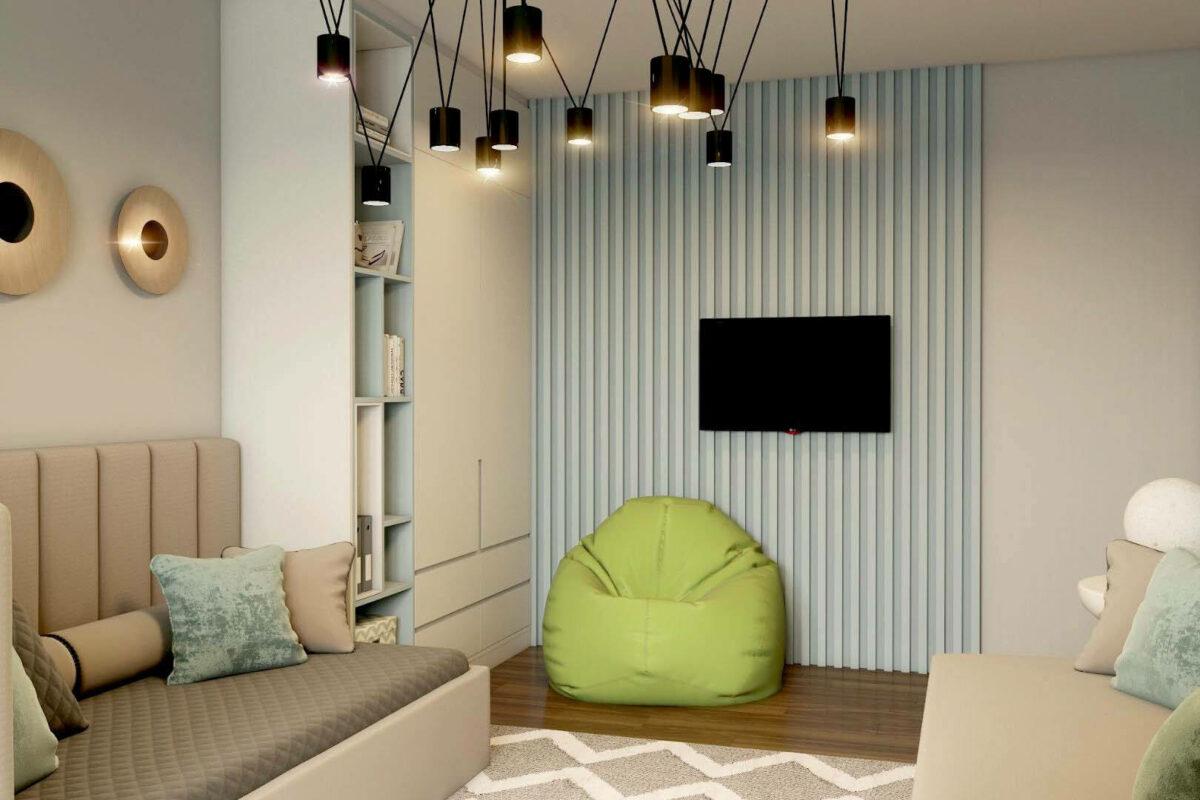 Зеленая мебель в комнату мальчика проект 3913-4