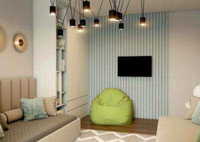 Мебель в зеленом цвете для детской комнаты мальчика — проект 3913