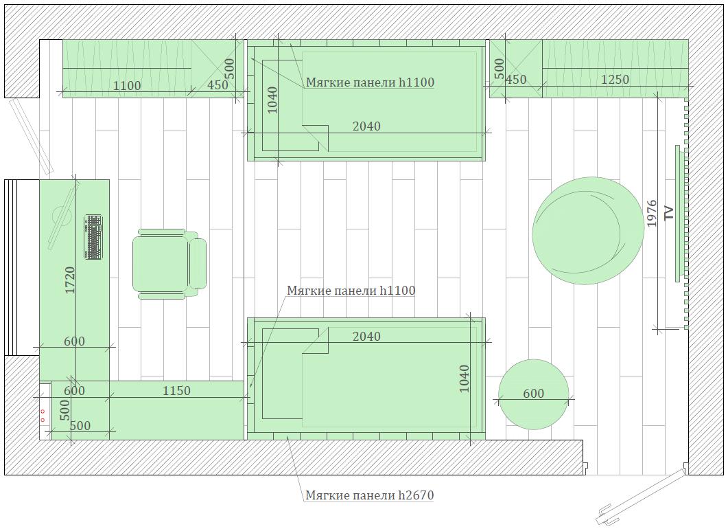 Зеленая мебель в комнату мальчика проект 3913-5
